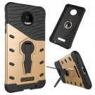 For Moto Z Force Gold Spin Tough Armor TPU + PC Rotating Case with Holder