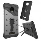 For Moto Z Droid Black Spin Tough Armor TPU + PC Rotating Case with Holder