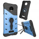 For Moto Z Droid Blue Spin Tough Armor TPU + PC Rotating Case with Holder