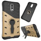 For Moto G4/G4+ Gold Spin Tough Armor TPU + PC Rotating Case with Holder