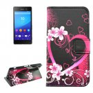 For Sony Xperia C6 Peach Pattern Leather Case with Holder, Card Slots & Wallet