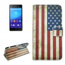 For Sony Xperia C6 US Flag Pattern Leather Case with Holder, Card Slots & Wallet