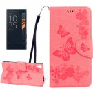 For Xperia XA Pink Butterfly Leather Case with Holder, Card Slots & Wallet