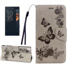 For Xperia XA Grey Butterfly Leather Case with Holder, Card Slots & Wallet