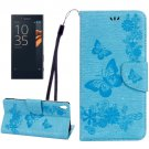 For Xperia XA Blue Butterfly Leather Case with Holder, Card Slots & Wallet