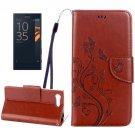 For Xperia X Coffee Butterfly Leather Case with Holder, Card Slots & Wallet