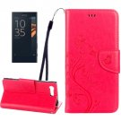For Xperia X Magenta Butterfly Leather Case with Holder, Card Slots & Wallet