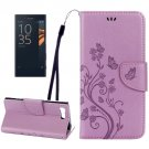 For Xperia X Purple Butterfly Leather Case with Holder, Card Slots & Wallet