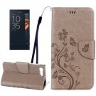For Xperia X Brown Butterfly Leather Case with Holder, Card Slots & Wallet