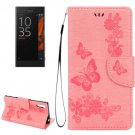 For Xperia XZ Power Pink Butterfly Leather Case with Holder, Slots & Wallet