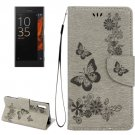 For Xperia XZ Power Grey Butterfly Leather Case with Holder, Slots & Wallet