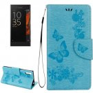 For Xperia XZ Power Blue Butterfly Leather Case with Holder, Slots & Wallet