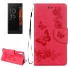 For Xperia XZ Power Red Butterfly Leather Case with Holder, Slots & Wallet
