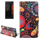 For Xperia XZ Abstract Flowers Leather Case with Holder, Card Slots & Wallet