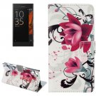 For Xperia XZ Lotus Pattern Leather Case with Holder, Card Slots & Wallet