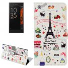 For Xperia XZ Eiffel Pattern Leather Case with Holder, Card Slots & Wallet
