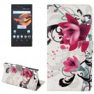 For Xperia X Compact Lotus Leather Case with Holder, Card Slots & Wallet