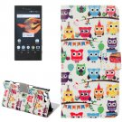For Xperia X Compact Owls Leather Case with Holder, Card Slots & Wallet