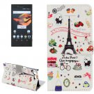 For Xperia X Compact Eiffel Leather Case with Holder, Card Slots & Wallet