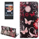 For Xperia X Compact Butterfly Leather Case with Holder, Card Slots & Wallet