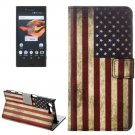 For Xperia X Compact US Flag Leather Case with Holder, Card Slots & Wallet