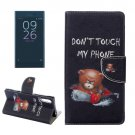 For Xperia XZ Bear Leather Case with Holder, Card Slots & Wallet
