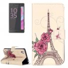 For Xperia X Performance Rose Leather Case with Holder, Card Slots & Wallet