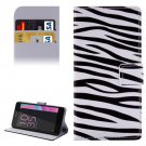 For Xperia E5 Zebra Pattern Leather Case with Holder, Card Slots & Wallet