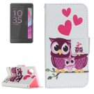 For Xperia X Performance Owl Pattern Leather Case with Holder, Card Slots