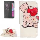For Xperia X Performance Bear Pattern Leather Case with Holder, Card Slots