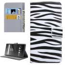 For Xperia XA Zebra Pattern Leather Case with Holder, Card Slots & Wallet