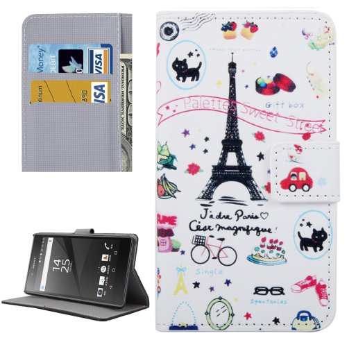For Xperia X Tower Pattern Leather Case with Holder, Card Slots & Wallet