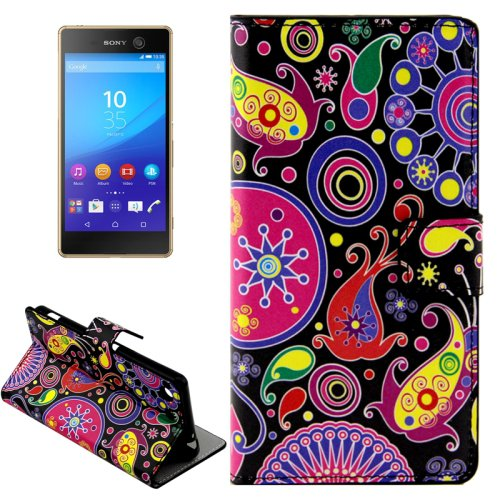 For Xperia M5 Abstract Pattern Leather Case with Holder, Card Slots & Wallet