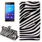 For Xperia M5 Zebra Pattern Leather Case with Holder, Card Slots & Wallet