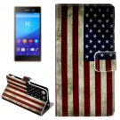 For Xperia M5 US Flag Pattern Leather Case with Holder, Card Slots & Wallet