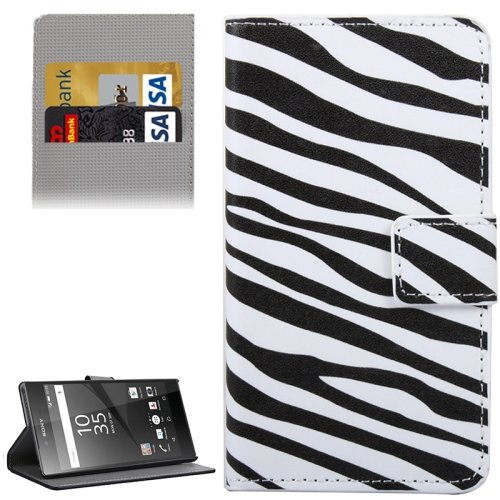For Xperia Z5 Zebra Pattern Leather Case with Holder, Card Slots & Wallet