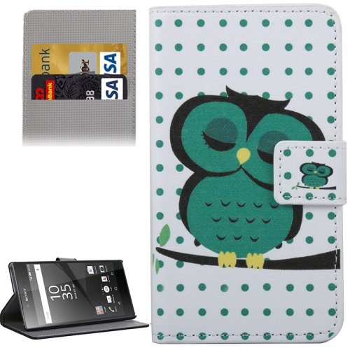 For Xperia Z5 Owl Pattern Leather Case with Holder, Card Slots & Wallet