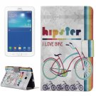 For Tab 3 Lite 7.0 Bike Pattern Horizontal Flip Leather Case with Holder