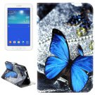 For Tab 3 Lite 7.0 Butterfly Pattern Leather Case with Holder, Card Slots & Wallet