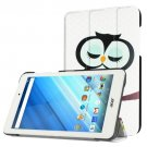 For Iconia One 8 Owl Flip Leather Case with Three-folding Holder