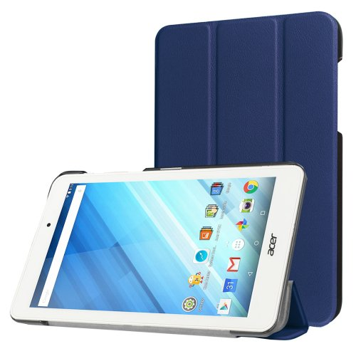 For Iconia One 8 Dark Blue Custer Flip Leather Case with Three-folding Holder