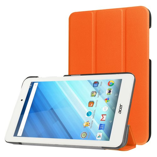 For Iconia One 8 Orange Custer Flip Leather Case with Three-folding Holder
