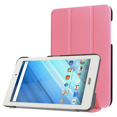 For Iconia One 8 Pink Custer Flip Leather Case with Three-folding Holder