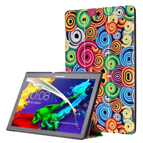 For Lenovo Tab 2 Smart Cover Custer Leather Case with 3 Gears Holder