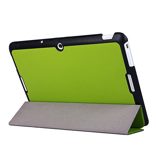 For MeMO Pad 10 Green Crazy Horse Texture Leather Case with 3-folding Holder