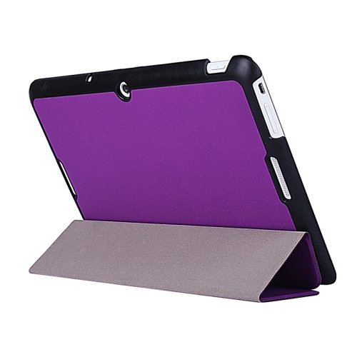For MeMO Pad 10 Purple Crazy Horse Texture Leather Case with 3-folding Holder