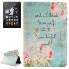 For Kindle Fire HDX Flowers Patterns Flip Leather Case with Holder & Card Slots