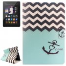 For Kindle Fire HDX Anchor Pattern Flip Leather Case with Holder & Card Slots