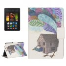 For Kindle Paperwhite 2 Bird House Pattern Leather Case with Holder & Card Slots