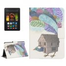 For Kindle Fire HDX 7 Bird House Pattern Leather Case with Holder & Card Slots